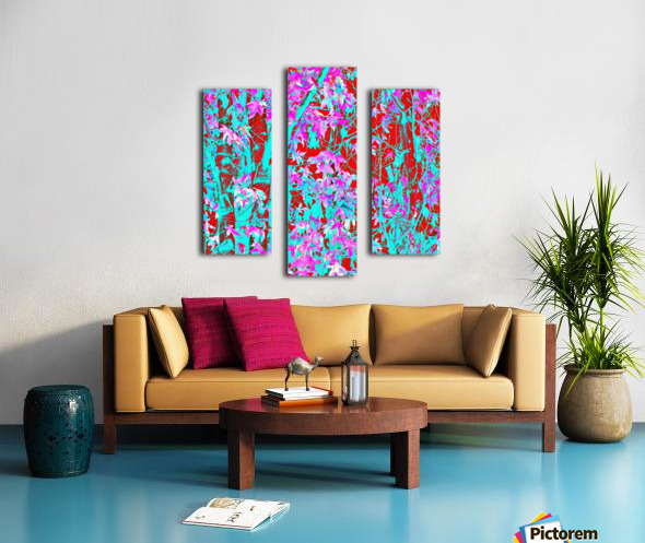 pink maple tree leaf with blue and red abstract background Canvas print