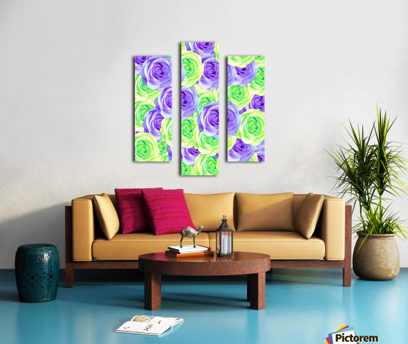 purple rose and green rose pattern abstract background Canvas print