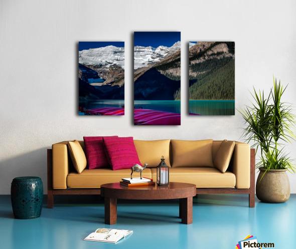 LakeLouiseCanoes Canvas print