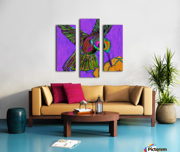HUMMINGBIRD ON PURPLE Canvas print