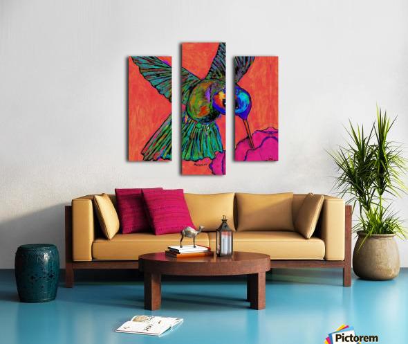 HUMMINGBIRD ON ORANGE Canvas print
