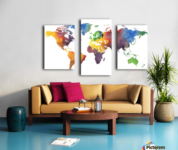 Colorful Map Of The World Watercolor Canvas print