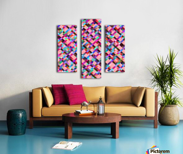 geometric pixel square pattern abstract background in pink purple blue yellow green Canvas print