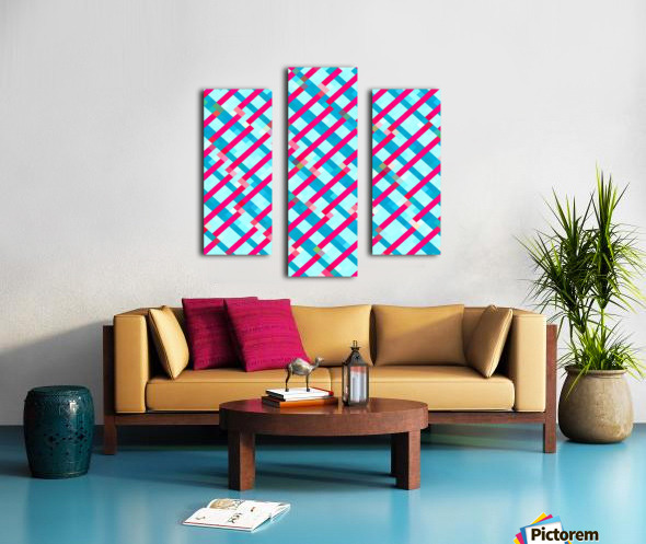 geometric pixel square pattern abstract background in blue pink Canvas print