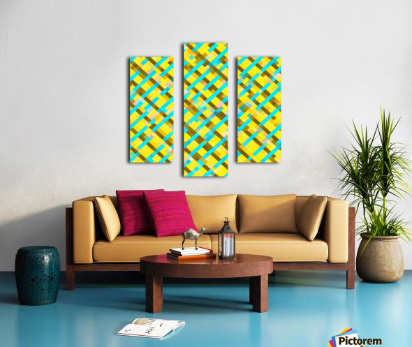 geometric pixel square pattern abstract background in yellow blue brown Canvas print