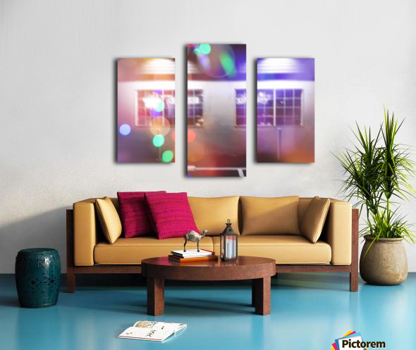 restaurant in the city with the colorful night light bokeh abstract Canvas print