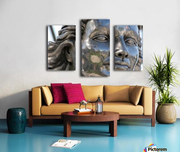 Face of Dolores Del Rio Silver Statue Canvas print