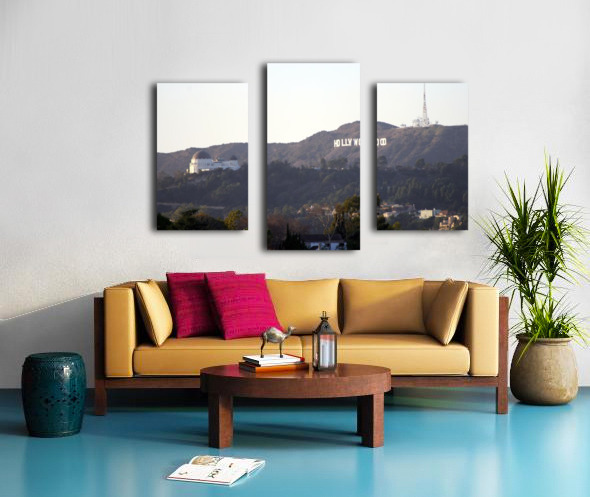 Hollywood Hills with Griffith Park Observatory Impression sur toile