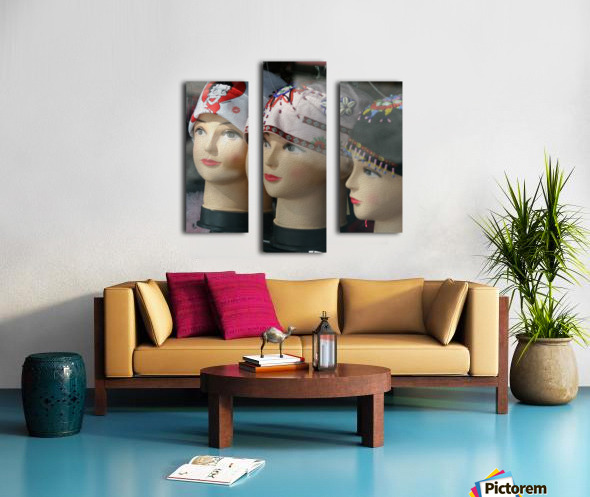 Three Mannequin Heads with Bandanas Canvas print