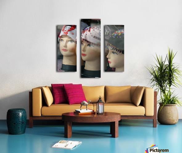 Three Mannequin Heads with Bandanas Canvas print