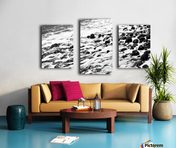 Beach Rocks Black and White II Canvas print