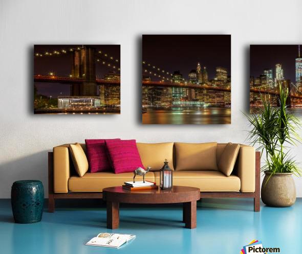 MANHATTAN SKYLINE & BROOKLYN BRIDGE Idyllic Nightscape | Panoramic  Canvas print