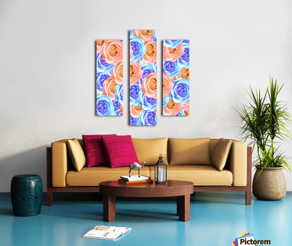 blooming rose texture pattern abstract background in red and blue Canvas print