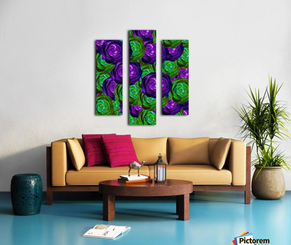 blooming rose texture pattern abstract background in purple and green Canvas print