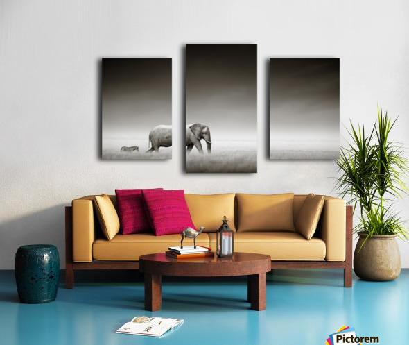 Elephant with zebra (Artistic processing) Canvas print