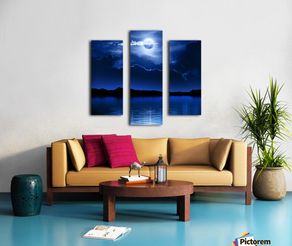Fantasy Moon and Clouds over water Canvas print
