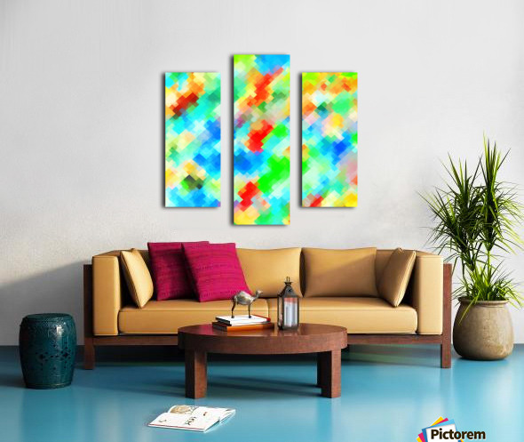 psychedelic geometric pixel abstract pattern in blue green red orange Canvas print