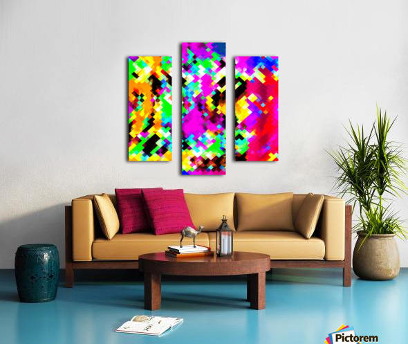 psychedelic geometric pixel abstract pattern in pink purple blue green yellow Canvas print