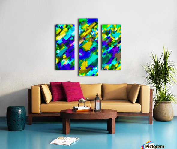 psychedelic geometric square pixel pattern abstract in green yellow blue purple Canvas print