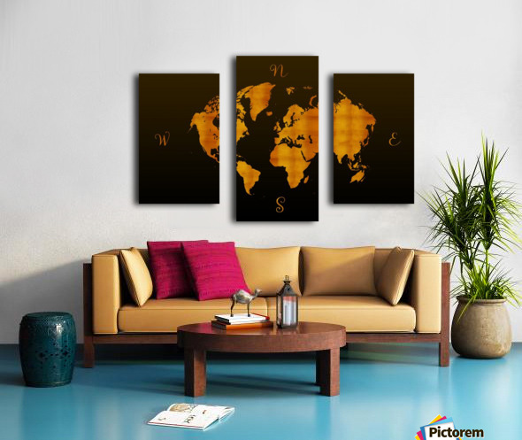 MODERN GRAPHIC ART World Map |  | Redgold Canvas print