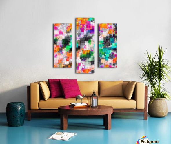 psychedelic geometric square pixel pattern abstract in orange green pink blue Canvas print