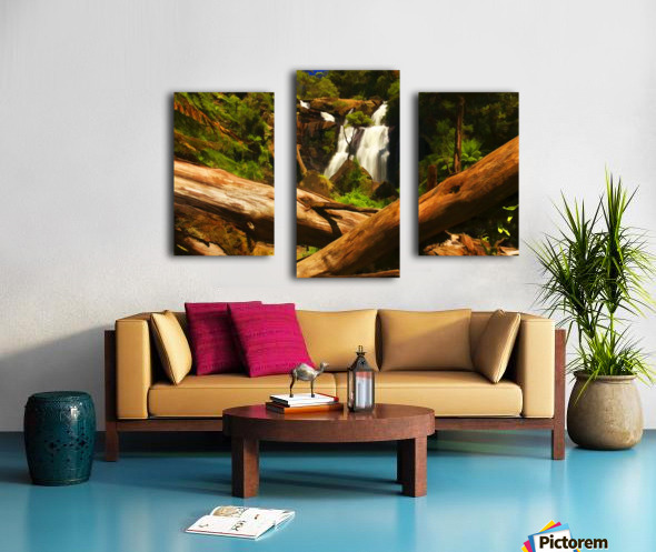 Tree Trees Fallen accross a Stream and Waterfall Digital Painting C010300_1114915 Canvas print