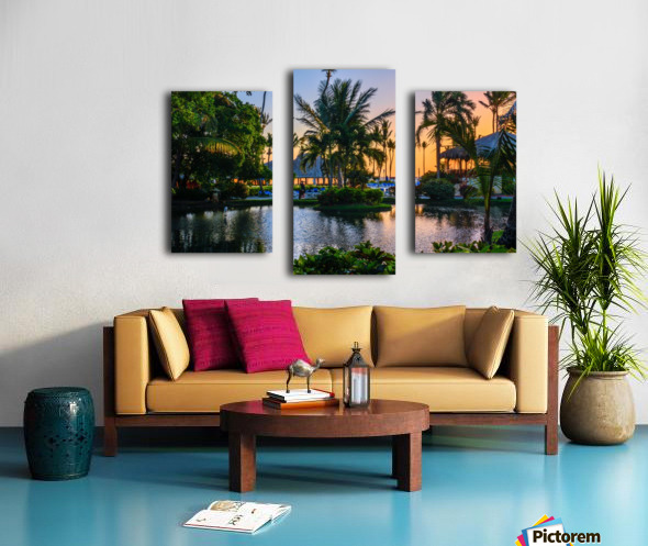 Multicolored tropical dawn with pond and palm trees, white pelican Canvas print