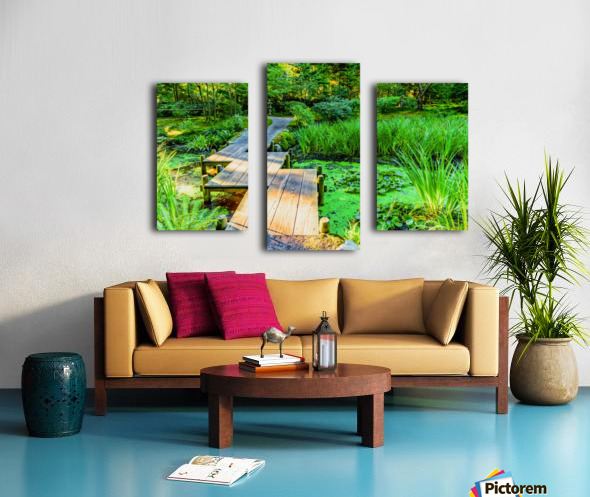 wooden bridge across a pond with duckweed and leaves of water lilies Canvas print