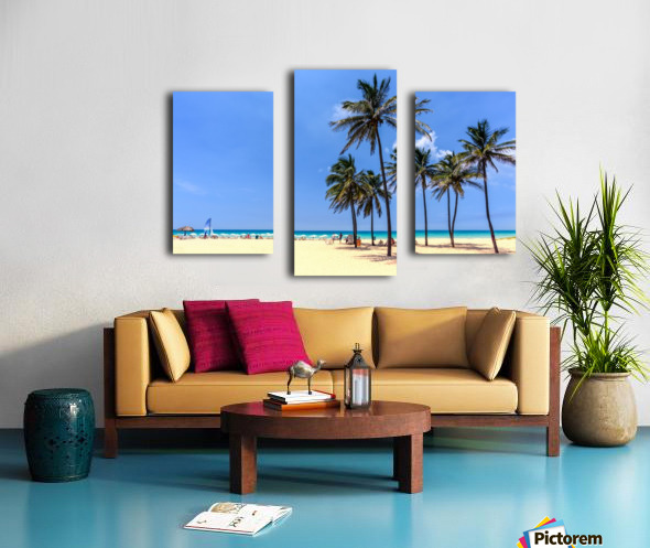 vacation on the beach on the hot Caribbean islands with green palms, yellow sand, blue sky Canvas print