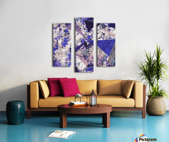 psychedelic geometric triangle polygon pattern abstract in blue and pink Canvas print