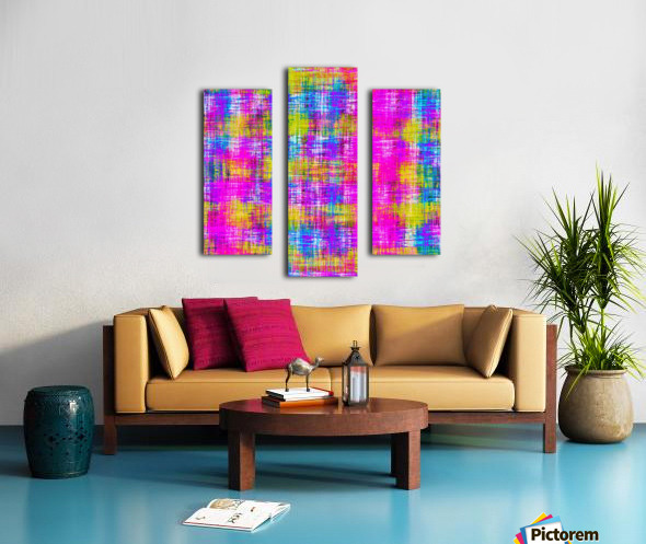 plaid pattern painting texture abstract background in pink purple blue yellow Canvas print