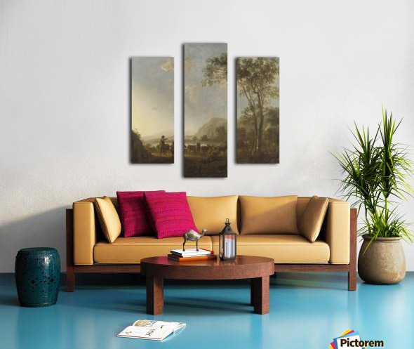 Landscape with herdsman and cattle Canvas print