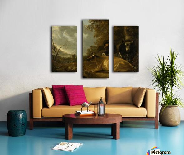 Landschap met koeien en herdersjongen Canvas print