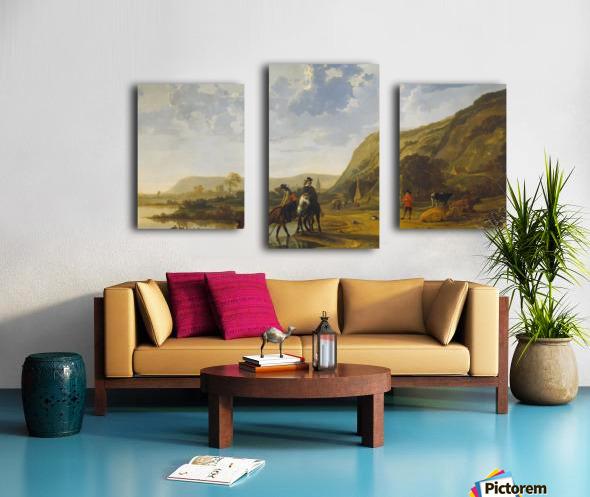 Rivierlandschap met ruiters Canvas print