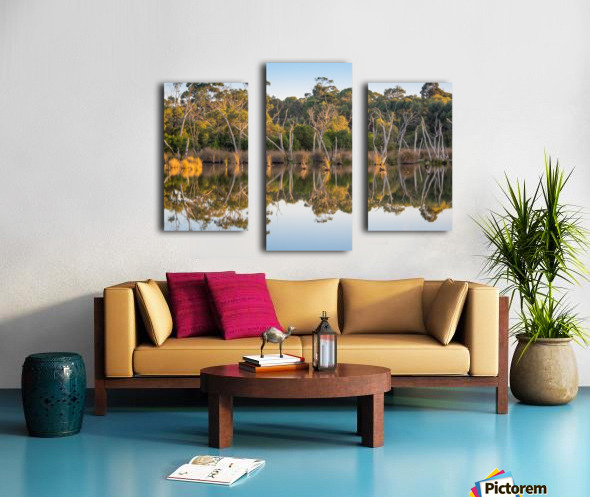 Evening river bank with glassy reflection Canvas print