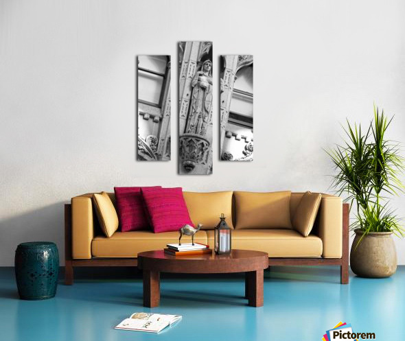 Caped Woman in Stone - B&W Canvas print