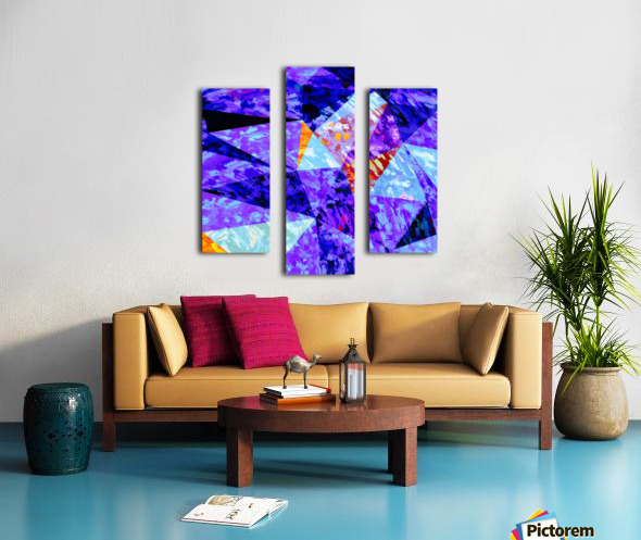 vintage psychedelic geometric triangle polygon pattern abstract in purple blue orange Canvas print