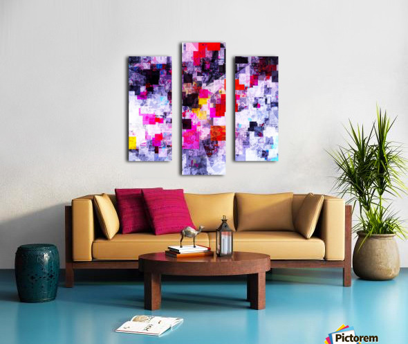 vintage psychedelic geometric square pixel pattern abstract in pink red blue purple Canvas print