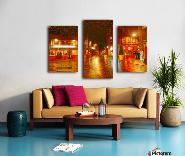 Wet streets by night Canvas print