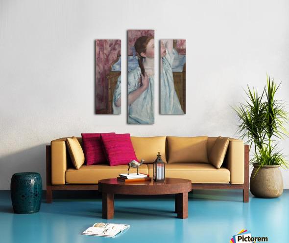 Girl Arranging Her Hair Canvas print