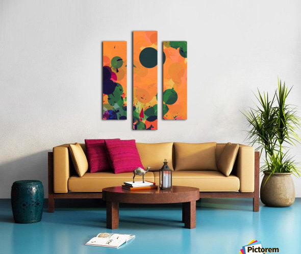 geometric circle and triangle pattern abstract in green orange red Canvas print