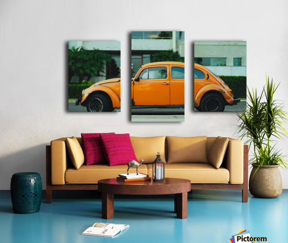 Parked Yellow Coccinelle Canvas print