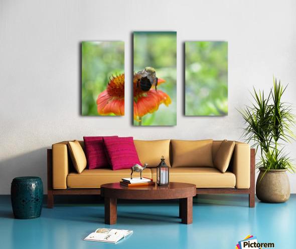 Bee On Orange Flower Photograph Canvas print