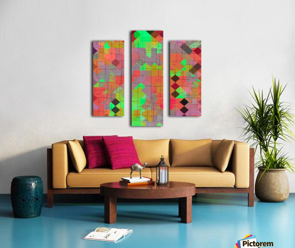 geometric square pixel pattern abstract in green orange red Canvas print