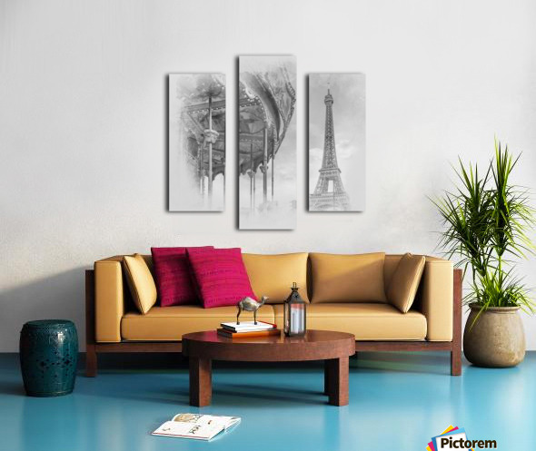 Typical Paris   monochrome watercolor Canvas print