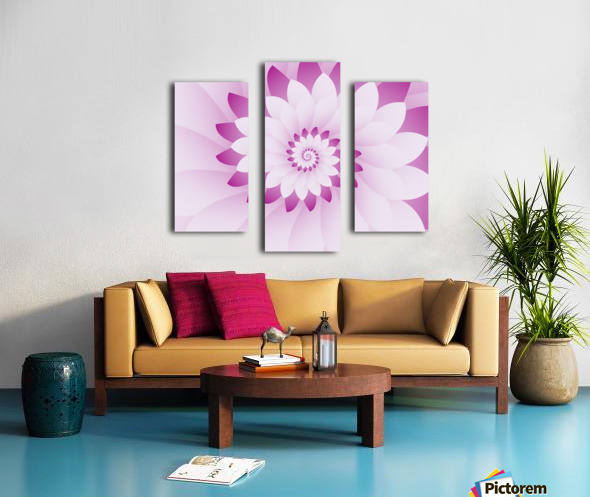 Abstract Pink & White Floral Design Art Canvas print