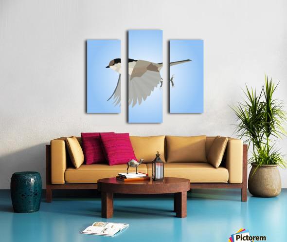 WILLOW TIT BIRD LOW POLY ART Canvas print