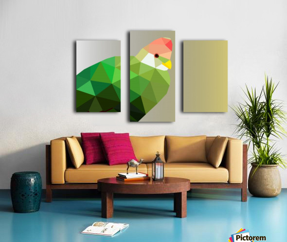 RED CRESTED TURACO LOW POLY ART Canvas print