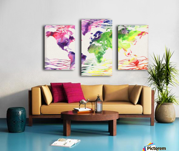 Colorful Wave Of Watercolour World Map Canvas print