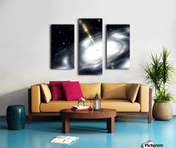 A rare galaxy that is extremely dusty and produces radio jets Canvas print